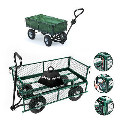 Panana Heavy Duty Garden Trolley Cart Truck 4 Wheel Transport Metal Wheelbarrow