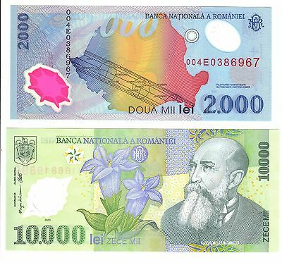Romanian Banknote Set - 2000 Lei, 10000 Lei - Uncirculated