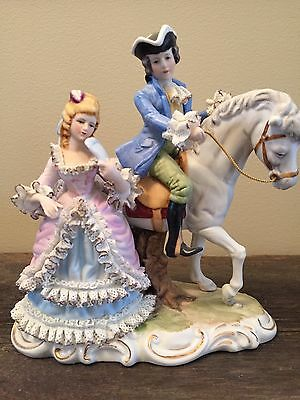 Vintage Porcelain Figure Lady Woman Horse Man Courting Lace