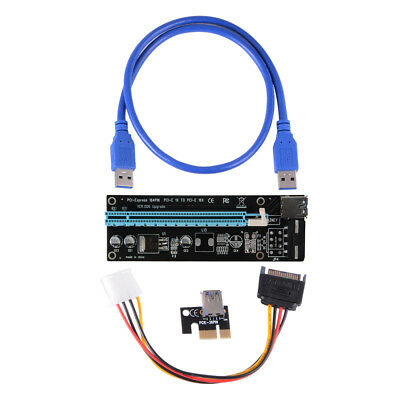 USB 3.0 PCI-E 1X To 16X Extender Riser Card Adapter Power Cable Mining AC579