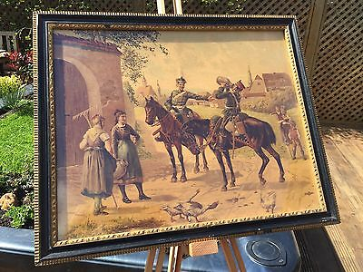 Antique Coloured Lithograph Print Of 18th Century Military Scene