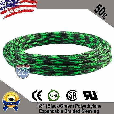 "50 FT 1/8"" Black Green Expandable Wire Sleeving Sheathing Braided Loom Tubing US"