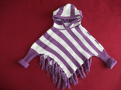 Baby Girls Knitted Poncho White / Purple  Size 18-23 Months