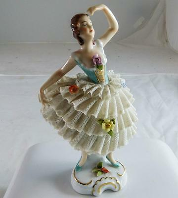 Antique German Porcelain Lace Figurine Dresden German Lady Ballerina Dancer