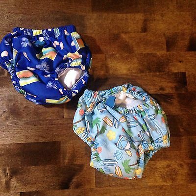 Iplay Lot Of 2 Unisex Reusable Cloth Swim Diapers UPF 50+ Size Small Summer