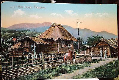 Locals, Street Scene PHILIPPINE ISLANDS, Post Card, 1905-15 Nipa Houses