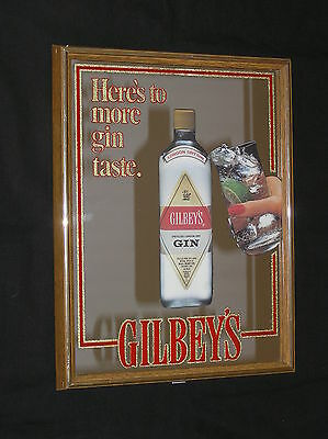 "GILBEY'S HERES TO MORE GIN TASTE MIRROR SIGNAGE SIGN PICTURE 17 1/4"" x 13 1/4"""