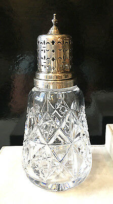 English Sterling Silver and Crystal Muffineer Sugar Shaker