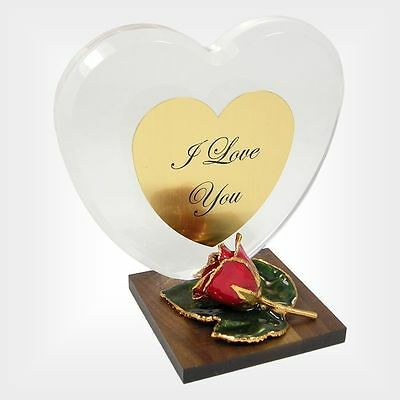 Personalized Anniversary Heart Gift w/ 24k Gold Red Rose (Free Gift Box)