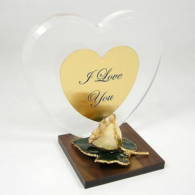 Personalized Anniversary Heart Gift w/ 24k Gold White Rose (Free Gift Box)