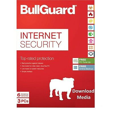 BullGuard Internet Security 2019 Latest 3 PCs 6 Months Antivirus Spam filter NEW