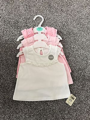 Three Pack Brand New Baby Girl Tops Age 0-3 Months