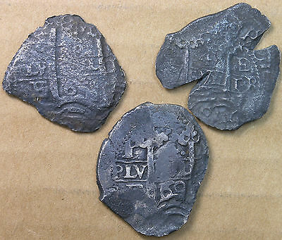 Bolivia Silver Cob 4Reales c.1670 Sea Salvage THREE PIECE LOT * AvenueCoin