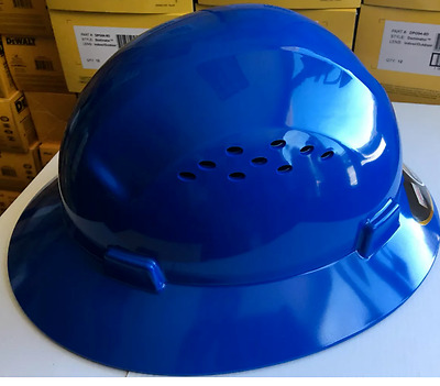 HDPE  Blue Full Brim Hard Hat with Fas-trac Suspension