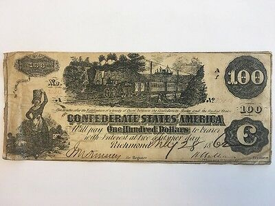 1862 Confederate States of America $100 Dollar Bill Civil War Currency Note!