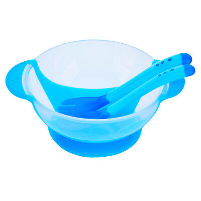 Baby Infants feeding Bowl With Sucker and Temperature Sensing Spoon Suction Cup