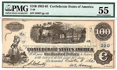 T-40 PF-1 $100 Confederate Paper Money - 1862 - PMG About Uncirculated 55!!