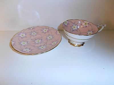 Royal Stafford  Tea Cup And Saucer Pink & Gold Gilt Floral Teacup England 8220