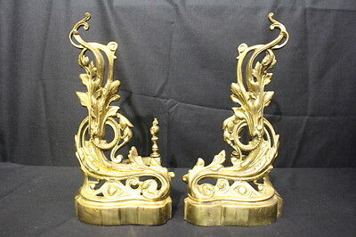 "Pair of Vintage Solid Brass Art Nouveau Andirons, 17 5/8"" Tall, Excellent"