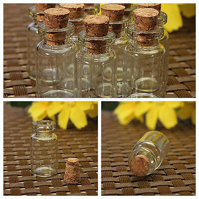 1x 0.5/1/2ML Mini Small Cork Stopper Glass Vial Jars Containers Bottle Bulk Lot