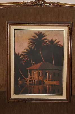 """Vtge Oil Painting on Canvas, """" A House on the River"""", Signed, Framed"""
