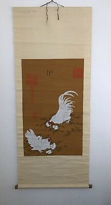 RARE Chinese Scroll PRINT Antique Art Chickens