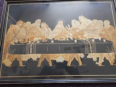 Beautiful folk art creation of the last supper made from straw and linen