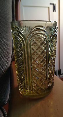 American Pressed Glass Tumbler Heavy green/yellow glass. 5 in. Tall, 3 in diamet