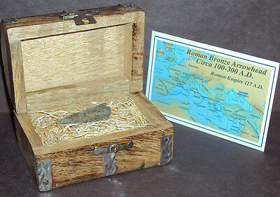Ancient Roman Empire Bronze Arrowhead with Display Chest! Circa 100-300 A.D.
