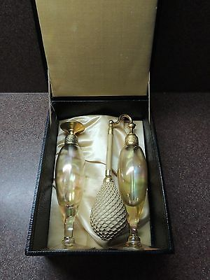 DeVilbiss 1920's Amber and Gold Atomizer & Dropper Top Perfume Bottles Boxed