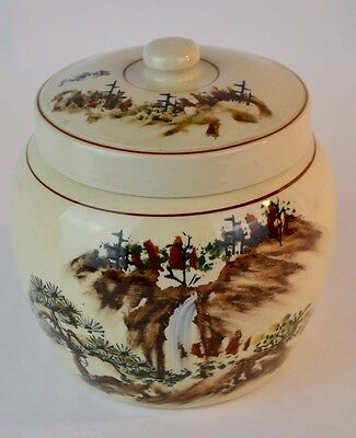 Old Asian Tea Caddy Handpainted Waterfall Scene