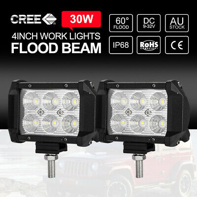 2x 4 inch 30W CREE FLOOD LED Work Light Bar Off Road Reverse Worklights 12V24V