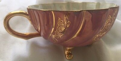 Antique Vintage Footed Tea Cup Made In Japan Pink and Gold
