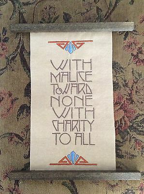 REDUCED Mission MacIntosh Arts and Crafts Hubbard Style Embroidery Wall Hanging