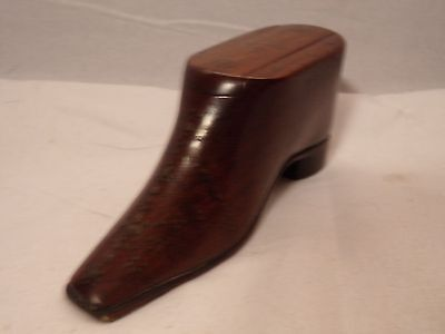 ANTIQUE SNUFF BOX-SHOE-WOODEN-CARVED-HAND PAINTED-3.75inch-TREEN WOOD-NR!