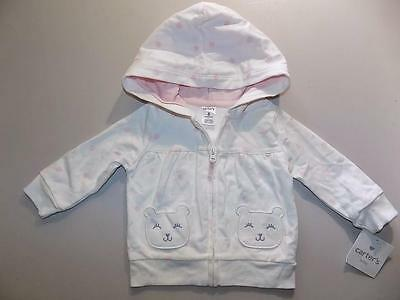 Carter's Baby Girls White Hoodie Jacket 100% Cotton NWT Size 6M