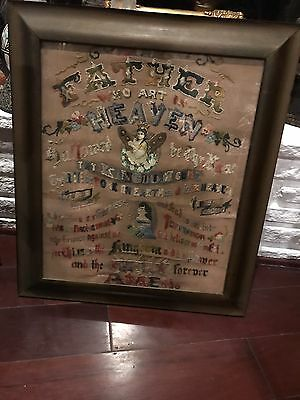 Antique  19th C Early  American Victorian Religious Sampler