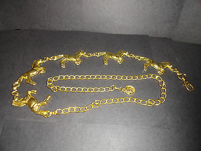 "Running Horse  Chain Belt  37"" 5 Horses Belt Gold Tone Country Cowboy Theme Vtg"