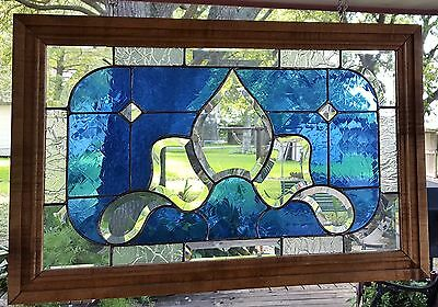 Tiffany Style Stained Glass Window Art Panel Cobalt Blue Hand Crafted Wood Frame
