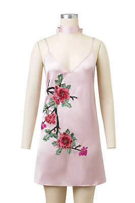 Fashion Lady Womens Embroidery Flower Sleeveless Cocktail V-neck Party Dresses