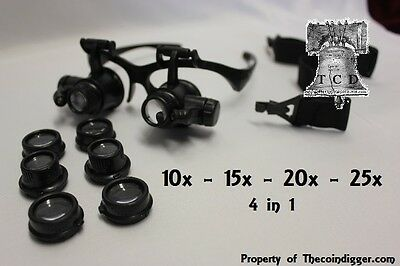 25x Magnifier LED Binocular Dual Magnifying Glasses Adjustable 4 in 1 Coin Grade