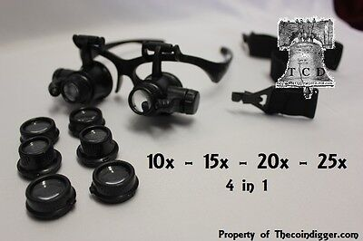 25x Magnifier LED Binocular Dual Magnifying Glasses 4 in 1 Banknotes Currency
