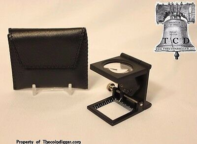 10x Heavy Duty Folding Pocket Magnifier Scale LED Magnifying Glass Coin Grading