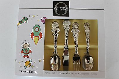 Oneida Kids 4 Piece Space Family Child Silverware Set Stainless Steel 18/80 New