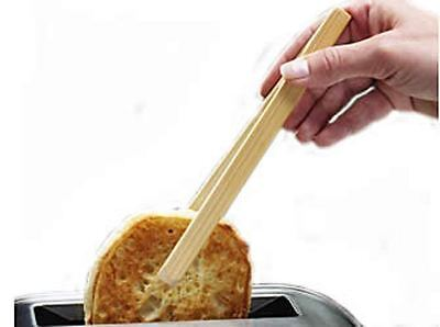 20cm Wooden Toaster Tongs Bread Toast Crumpet Food With Magnet Bamboo