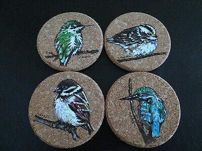 Hand Painting Cork Coasters Art Coaster set of 4 Artist Hand-painted birds 4""