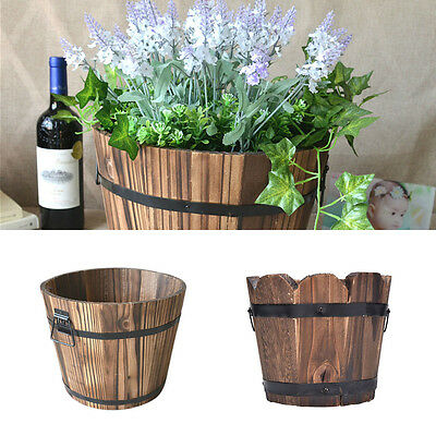 Outdoor Flower Pots Wine Barrel Planter Whiskey Garden Patio Indoor Wood Wooden