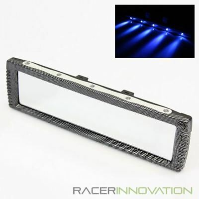 """Super Wide 300mm 11.8"""" Car Interior Flat Rearview Mirror w/ 5 Blue LED Light"""