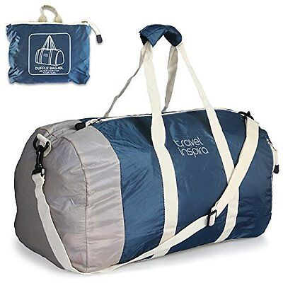Foldable Travel Luggage Duffle Bag Lightweight for Sports Gym Vacation Blue 60L