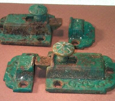 #6  Victorian Eastlake cabinet Door Latches hardware Cast iron With Brass knobs